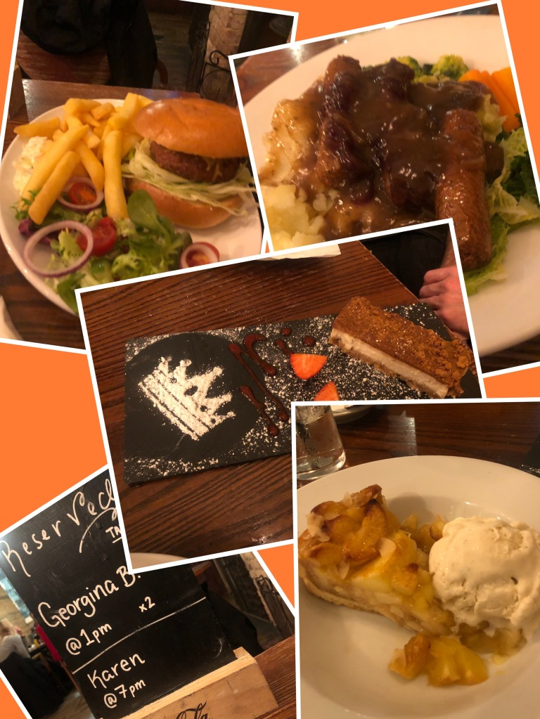 Vegan meal for two: burger and chips, sausage and mash, cheesecake, apple pie and ice cream